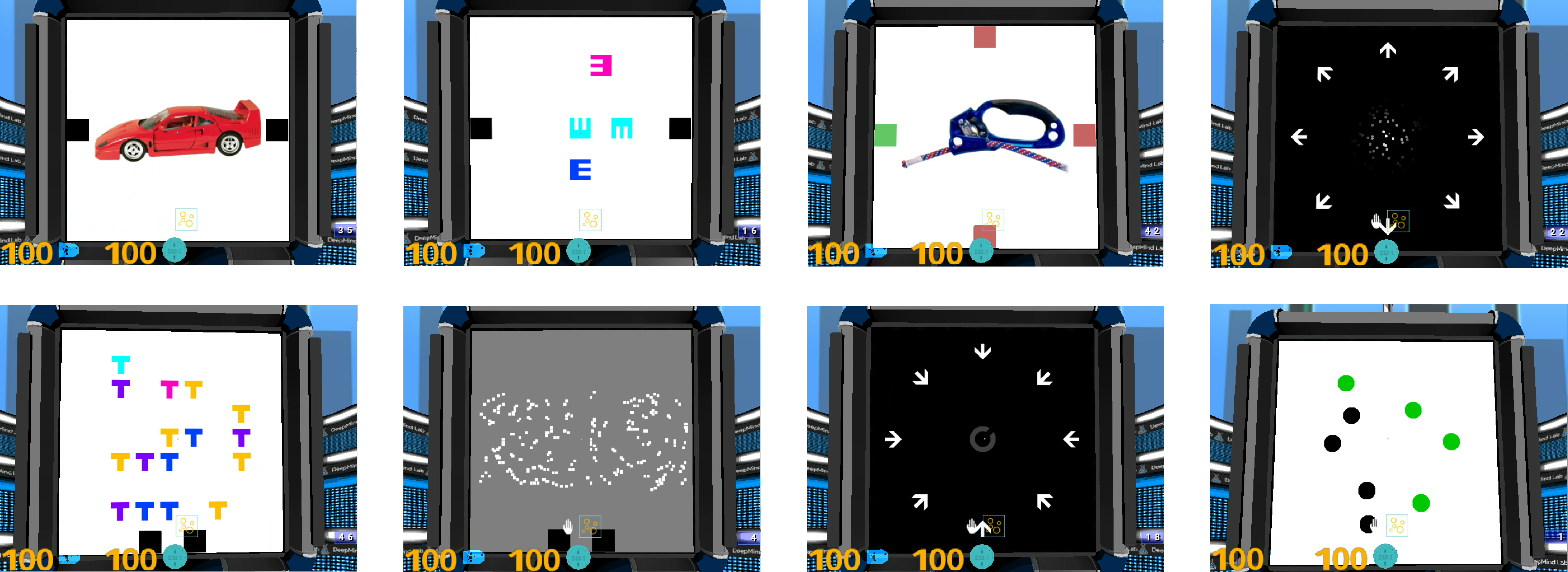 Screenshots from the various tasks we are releasing with the Psychlab framework. Proceeding clockwise starting from the upper left, they are (1) continuous recognition, (2) change detection (3) arbitrary visuomotor mapping, (4) random dot motion discrimination, (5) visual search, (6) glass pattern detection, (7) Landolt C identification, and (8) multiple object tracking.