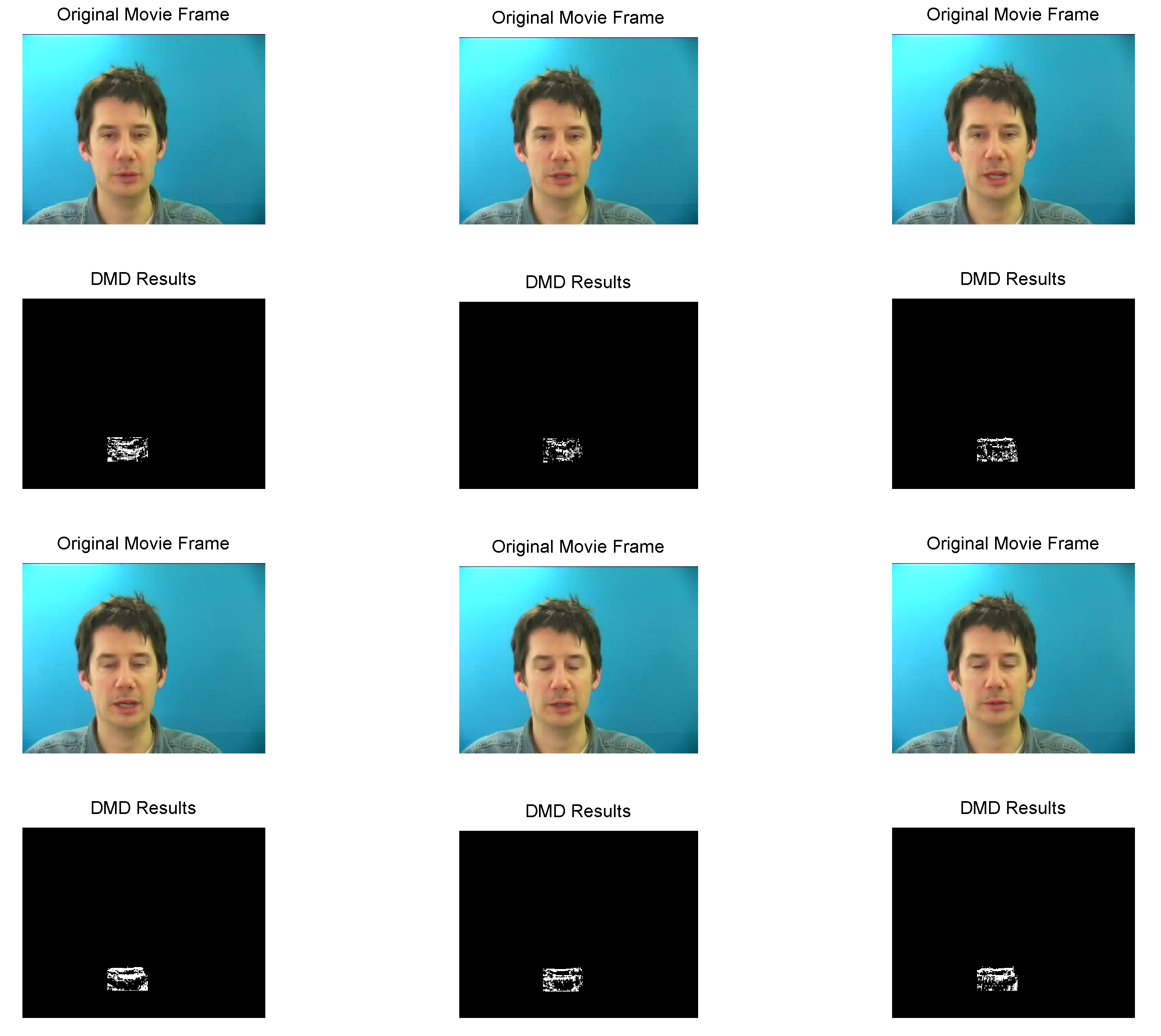 DMD results for selected frames. DMD is not ideal in this situation because the background (the man's face) is not completely stationary.