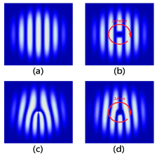 The amplitude of the order parameter with (a) no topological defect, (b) a single vortex, (c) double dislocations and (d) a half vortex bound to a dislocation. The red arrow indicates that the superfluid phase changes