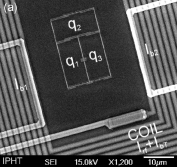 (Colour on-line) (a) Electron micrograph of the sample, (b) layout of three coupled qubits. Each