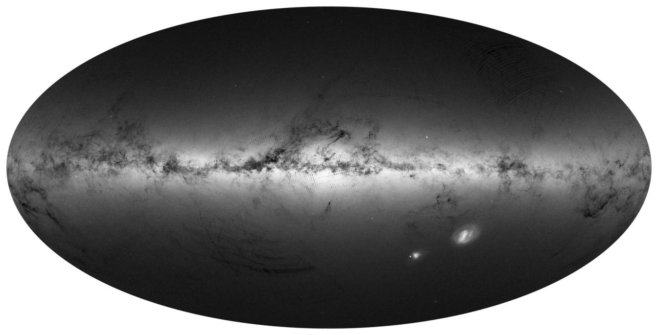 All-sky maps of DR1: Integrated flux (top), density (middle), density for sources brighter than G=20 mag (bottom)