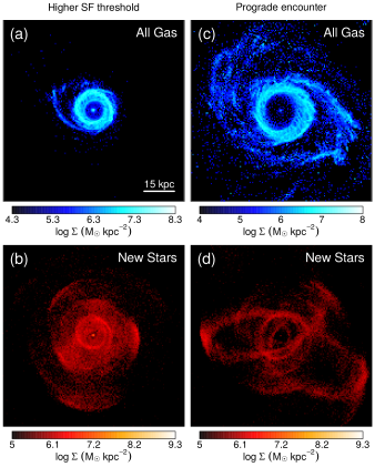 Face-on surface densities of gas and stars in two alternate models. The consequences of increasing the star formation threshold of the fiducial model is shown for (a) all gas, and (b) stars formed out of the gas. The consequences of changing the orientation of the satellite disc from a retrograde to a prograde encounter is shown for (c) all gas, and (d) stars formed out of the gas. In each panel, the face-on projection is determined by the orientation of the final disc. In the parameter list of Table