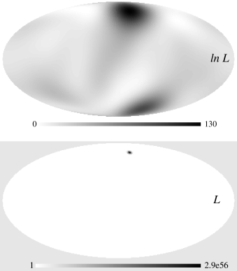 Inverted likelihood and log likelihood as a function of sky location at fixed frequency.