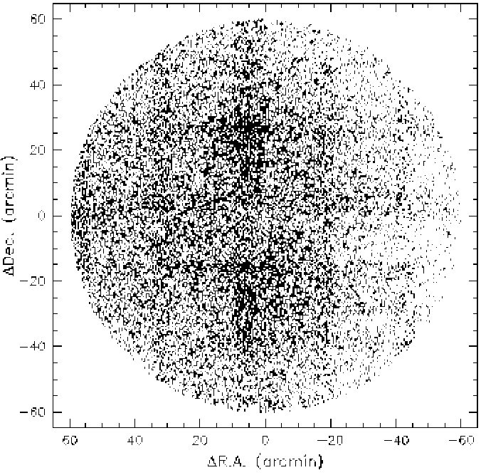 The distribution of the unallocated objects within the stacked 2dF fields.