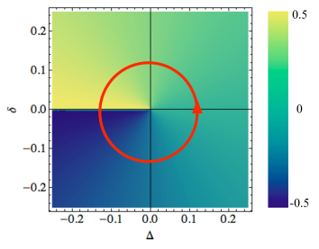 (color online). Polarization as a function of