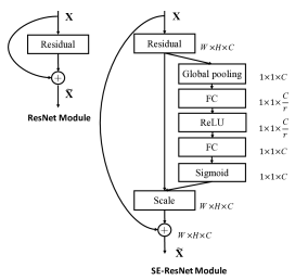The schema of the original Residual module (left) and the SE-ResNet module (right).