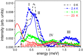 Experimental (dots) and simulated (lines) INS spectra for