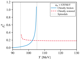Second-order baryon number fluctuation approaching the critical endpoint (left) and beyond in the first-order region of the phase diagram (right).