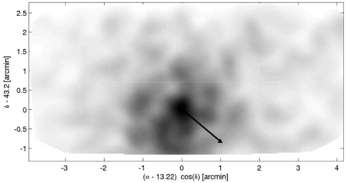 Two-dimensional surface density of RGB stars in the AndIX field, which shows signs of a clumpy structure, which is most likely attributed to the sparse sampling. The arrow indicates the direction towards the center of M31; no obvious elongation of AndIX in this direction is apparent.