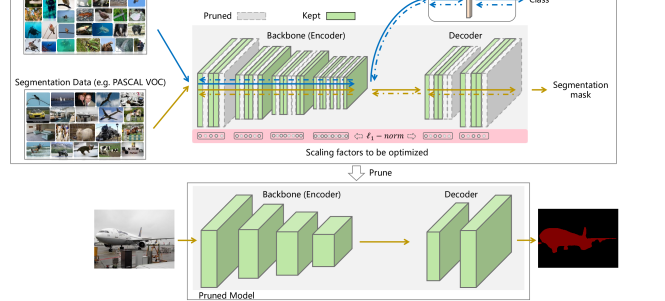 The diagram of the proposed multi-task pruning for semantic segmentation networks. The scaling factor of each convolution filter in the given network will be simultaneously determined by the classification and segmentation tasks.