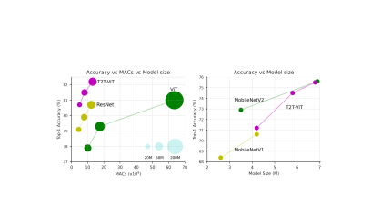 The comparison between T2T-ViT with ViT, ResNet and MobileNet when trained from scratch on ImageNet. Left: the performance curve of MACs vs. top-1 accuracy. Right: the performance curve of model size vs. top-1 accuracy.