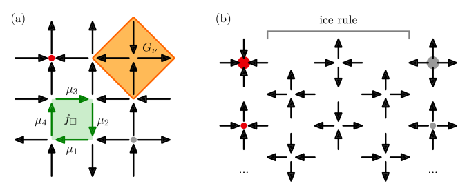 Square ice quantum link model. Arrows visualize spin-1/2 polarizations on the links; small (large) red and grey dots indicate positive and negative static charges