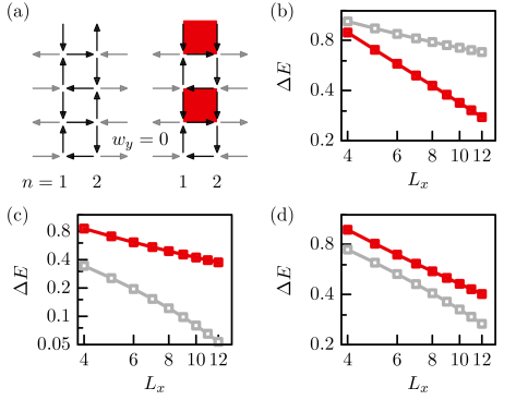 (a) Two choices of boundary conditions (grey arrows) illustrated on a