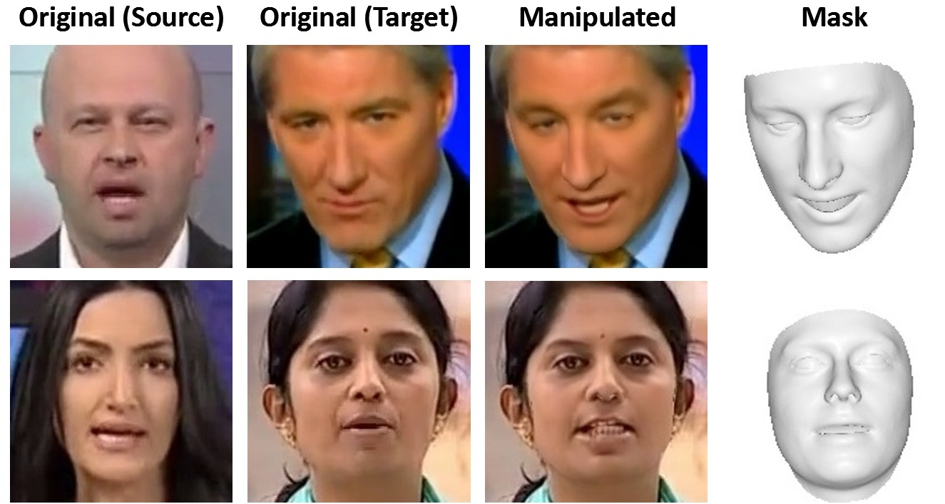 Source-to-Target Dataset. From left to right: original input image of the source actor, input image of the target actor, reenactment result and face mask that is used during synthesis of the output image.