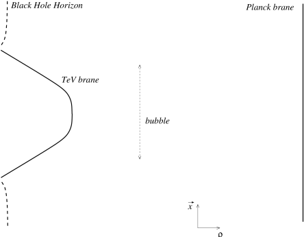 5D picture of the 4D bubble configuration. The two solutions are connected by moving the black hole horizon and the TeV brane towards the AdS infinity.