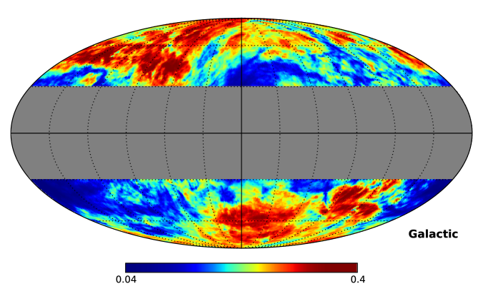 Relative difference between the Galactic diffuse emission predicted by model A and B, for latitudes