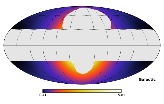 Dimensionless J-factor for annihilating DM as distributed in the Galaxy following an Einasto profile. The Mollweide projection is given in Galactic coordinates, centered on the position of the GC. Regions outside the ROI discussed in Section