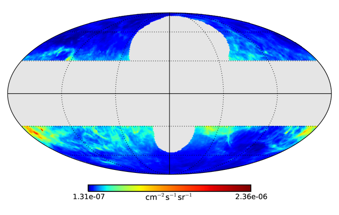 ROI considered in this analysis. The Mollweide projection depicts the benchmark IEM template in Galactic coordinates, centered on the GC. The map shows the integral flux