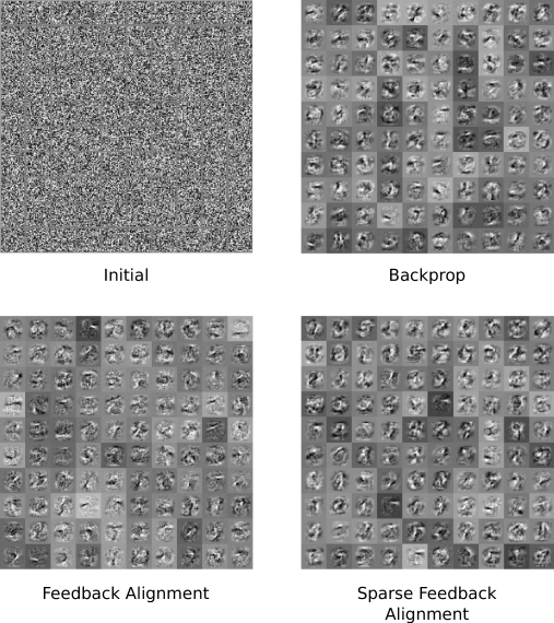 Receptive fields for 100 randomly selected hidden units shown at the beginning of learning (top left) and for the three learning variants discussed in the main text. Grey scale indicates the strength of connection from each of