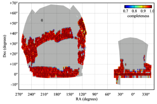 The Northern Galactic cap (NGC) and Sourthern Galactic cap (SGC) footprint of the CMASS DR9 galaxy sample