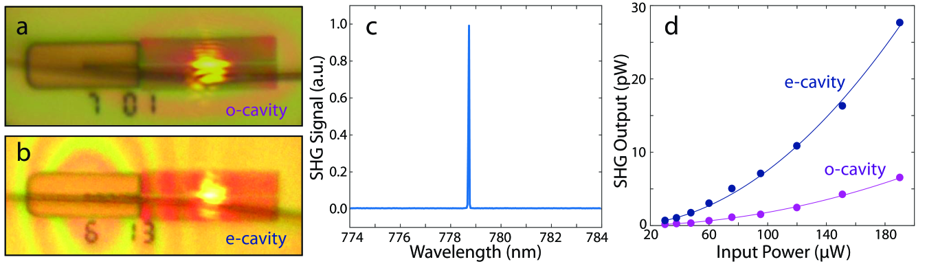 Second harmonic generation in 2D LN PhC slab nanoresonators.