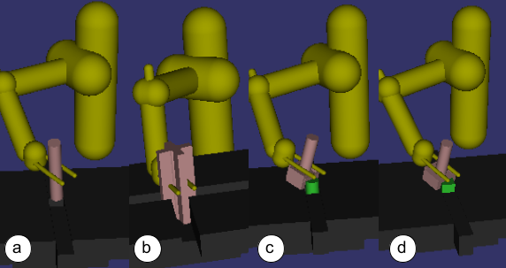 Simulated tasks used for evaluation: (a) Cylindrical peg insertion (b) Cross-shaped peg insertion (c) Stacking over a cylindrical peg (d) Stacking over a square-shaped peg