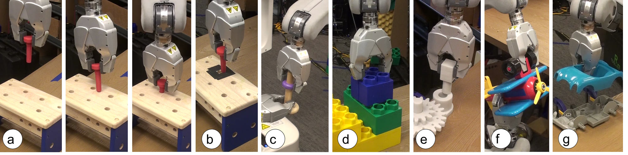 Tasks used in our evaluation: (a) inserting a toy nail into a toolbench, (b) inserting the nail with a high-friction surface to increase difficulty, (c) placing a wooden ring on a tight-fitting peg, (d) stacking toy blocks, (e) putting together part of a gear assembly, (f) assembling a toy airplane and (g) a toy car.