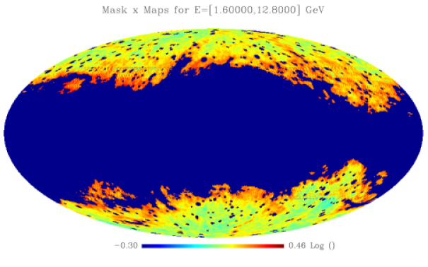 (Left) 5 year averaged counts map (in HEALpix nside=256 format) of our reference no-DM model, which contains astrophysical EGB, Galactic foreground and resolved point sources. An energy dependent mask is applied to suppress Galactic foregrounds and point sources (see the text). The simulation has been divided into five energy bands (in the energy ranges indicated in the titles) and only the region outside the masks is shown. The EGB energy spectrum is harder than the Galactic diffuse one, so at high energies there is more sky area available for the analysis. (Right) A random realization of the expected counts.