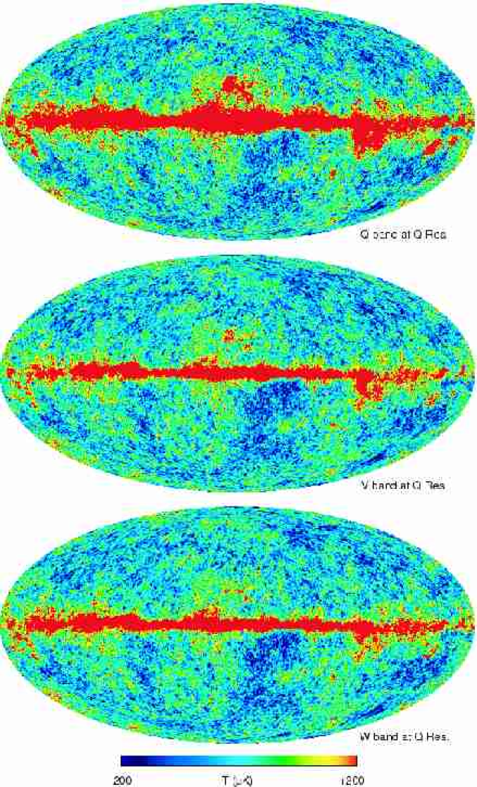 A comparison of the Q-band, V-band, and W-band maps. All three maps are smoothed to Q-band resolution and are in thermodynamic temperature. The reduction of Galactic contamination relative to K-band and Ka-band (Figure