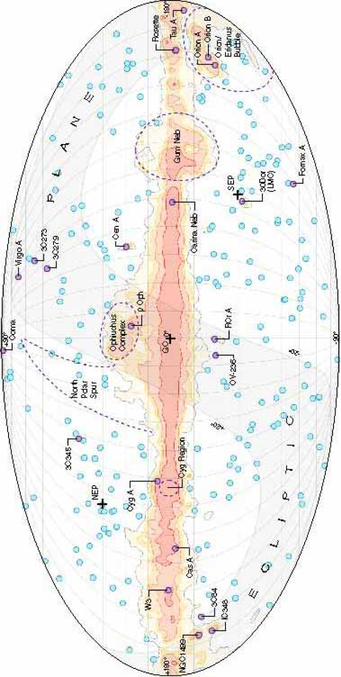 A guide to the microwave sky for reference. This picture shows the large-scale emission from the Milky Way galaxy, including some of its notable components such as the Cygnus complex, the North Polar Spur, the Gum region, etc. The small circles show positions of the microwave point sources detected by