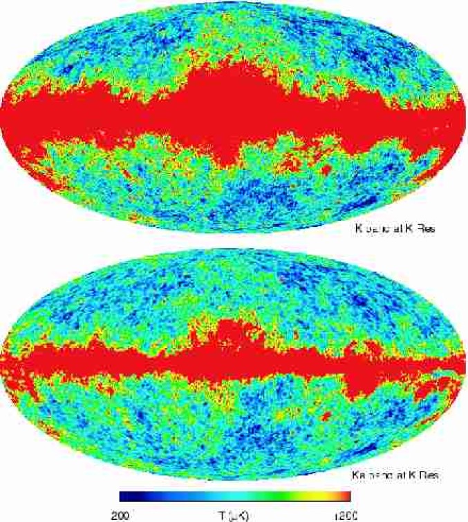 A comparison of the K-band map with the Ka-band map smoothed to K-band resolution, both in thermodynamic temperature, shows the dramatic reduction of Galactic contamination with increased frequency. The comparison also shows the similarity of the CMB fluctuation features at high Galactic latitude.