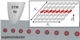 Schematic of the experimental setup. An array of magnetic atoms (red spheres) is assembled using scanning tunneling microscope on the surface of s-wave superconductor (gray background). The system is modeled by the two dimensional