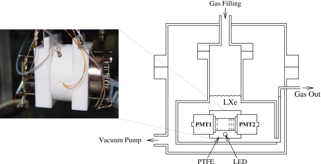 Schematic view and photograph of the LXe detector assembly. The vacuum cryostat surrounding the detector vessel and the cooling system are not shown.