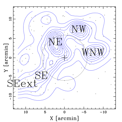 Spatial distributions and isodensity contour maps for the PAS (