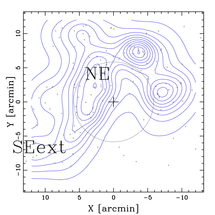 Spatial distribution and isodensity contour maps of vsELGs (