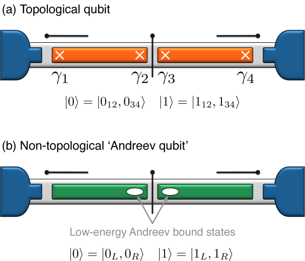 (a) Topological qubit and (b) reference non-topological 'Andreev qubit' that we seek to sharply distinguish. For the former the qubit is stored in the topologically degenerate ground states encoded by Majorana zero modes; in the latter the occupation numbers for 'accidental' near-zero-energy Andreev levels specify the qubit states. Because of the very different sensitivity to local noise sources, we argue that the topological qubit's coherence times and oscillation frequency exhibit nontrivial scaling relations that are generically absent in the Andreev qubit and can be used to identify topological protection in a modest pre-braiding experiment.