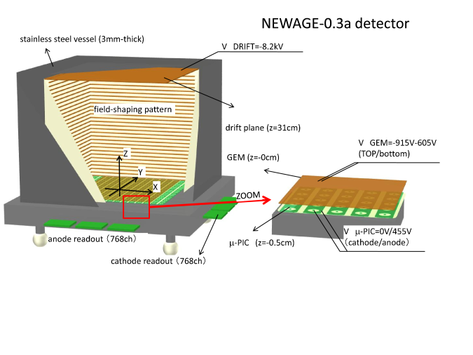 Schematic view of NEWAGE-0.3a detector. The volume between the drift plane and the GEM is the detection volume, it is filled with CF