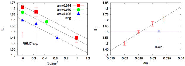 Left panel: a plot demonstrating the increase in Binder cumulant as