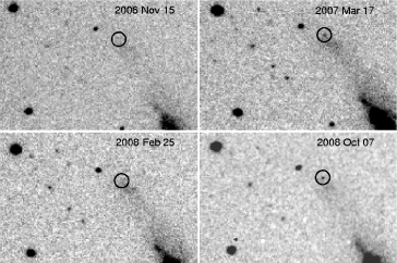 Unfiltered images of NGC 3432 obtained with a 32-cm reflector in Akersberga (Sweden). The 4 images show the evolution of the variable star, whose position is marked with a circle, on 2006 November 15 (top-left), 2007 March 17 (top-right), 2008 February 25 (bottom-left) and 2008 October 7 (bottom-right). The transient is clearly visible in the March 2007 and October 2008 images, while in the other two images it is below the detection limit. North is up, East is to the left.