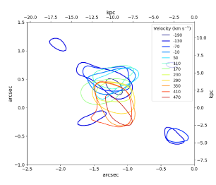 Contours of the source-plane reconstructions for the CO(
