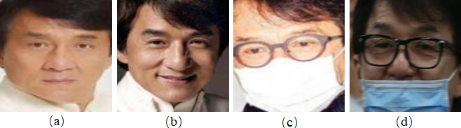 Examples of a pair of face images. (a) and (b) are normal face images. (c) and (d) are masked face images.