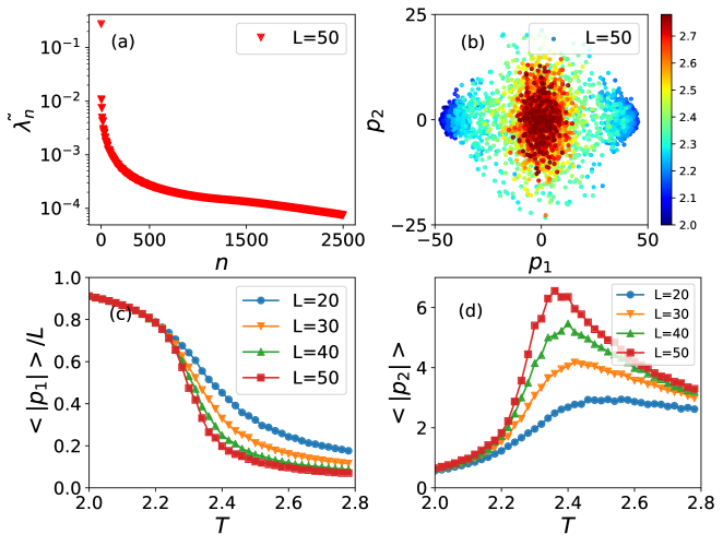 PCA results for the 2D square lattice Ising model. (a) Relative variances
