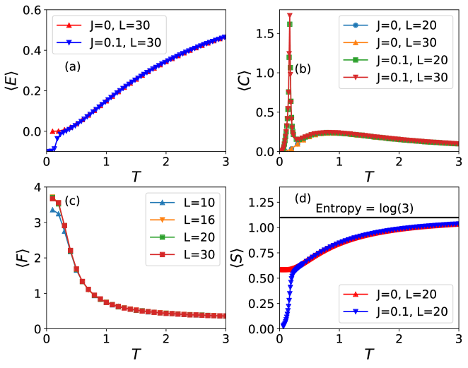 (a) Energy as a function of temperature with (Blue) or without (red)