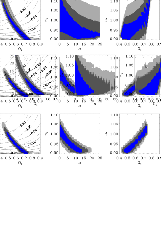 CFHTLS-wide constraints on Ratra-Peebles models. From left to right, we present the likelihood analysis (68, 95, and 99% C.L.) for the variables