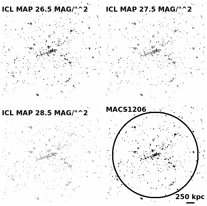 Images show only cluster members light below given surface brightness levels which is considered as ICL. The surface brightness limits correspond to