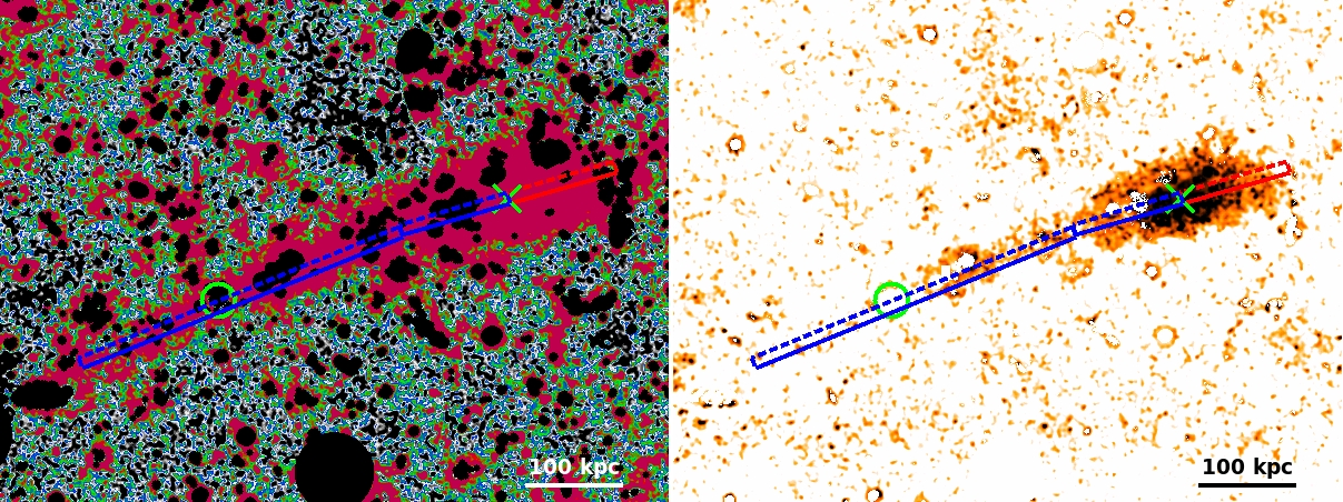 Zoom of the Rc-band BCG+ICL map of MACS1206 smoothed with a Gaussian kernel of 3x3 pixels. We overlaid the slits along the SE (blue) and NW (red) direction from which we extract the SB profiles. The green cross and circle correspond to the location of the BCG and the second brightest galaxy respectively.