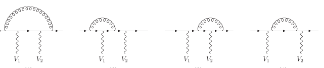 Virtual corrections for a fermion line with two vector bosons attached,