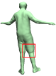 Viewing from front and back. Tex2Shape (blue), HMD (yellow), Ours (green). Ours captures the shape of occluded jacket hood and shorts deformation.
