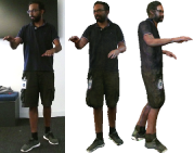 Rendering results. The right-most scene is from synthetic video. The rendering has both high fidelity and perceptual quality, from different viewpoints. The clothing wrinkles, logo, and text are clearly recovered.