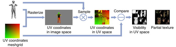 """Visibility and partial texture generation. By rasterizing UV coordinates to image space and sample it back to UV space, we obtain a UV coordinates map where only the visible parts are """"correct"""". By comparing it with the ground truth UV meshgrid, we obtain the visibility map in UV space. We further calculate partial texture by masking the sampled albedo."""